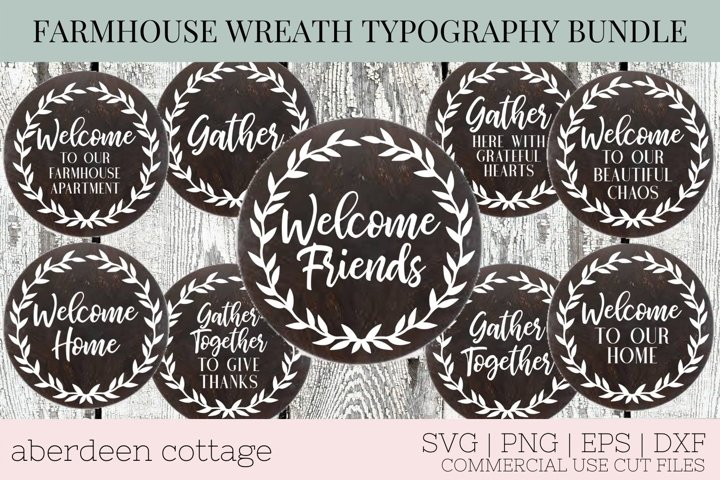 Farmhouse Wreath Wooden Sign Bundle - Welcome Sign SVG