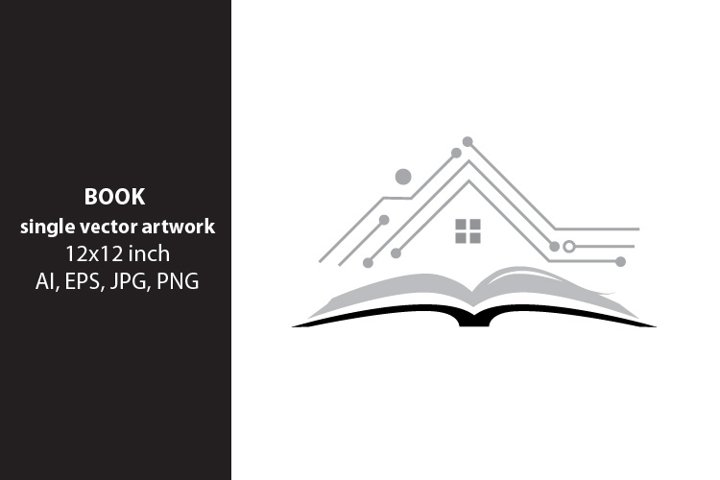 Open Book- digital house, SINGLE VECTOR ARTWORK