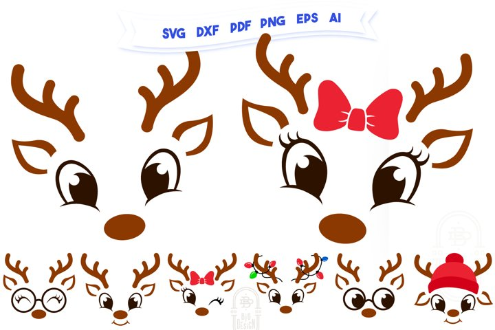 Christmas SVG - Cute Reindeers SVG Bundle