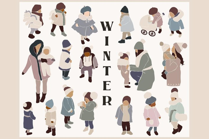 Abstract winter kids clipart