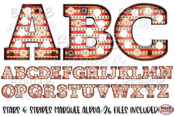 Stars and Stripes Marquee Alphabet Letters, Sublimation