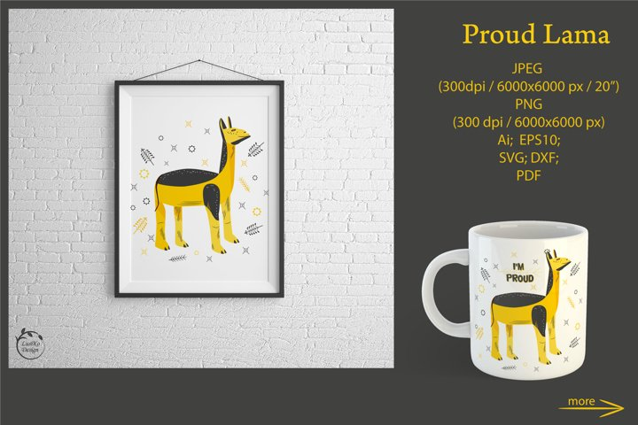 Proud Lama. Llama animal design, clipart, sublimation, SVG