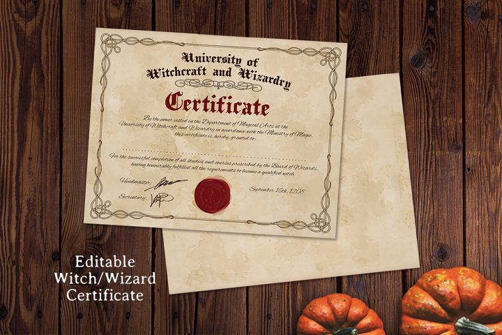 Vintage Editable Witch/Wizard Certificate