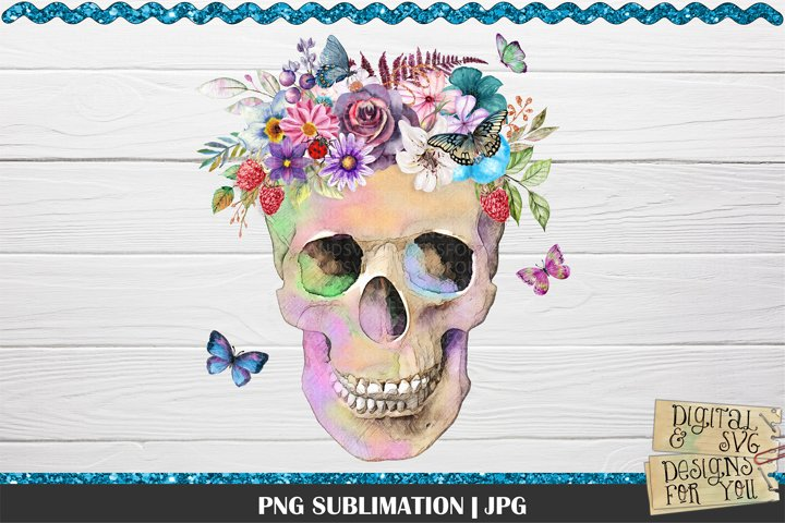 Spring Skull Sublimation | Skull Sublimation | Flowers