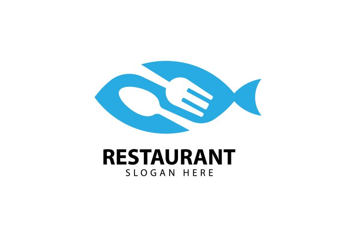 Seafood Restaurant Logo with Fork and Spoon