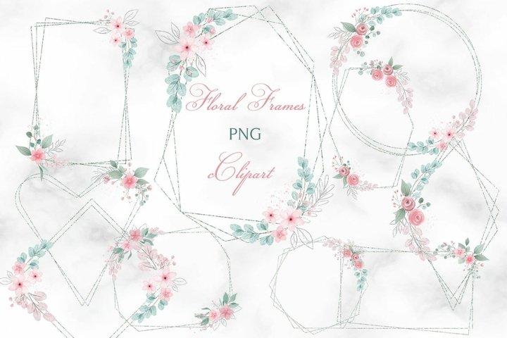 Floral frame clipart, Greenery Frame clip art, Polygonal