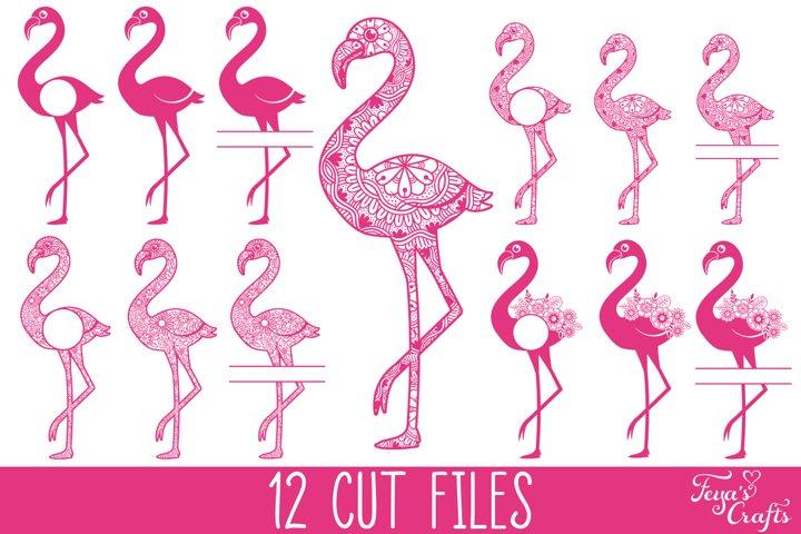Flamingo SVG Bundle, Flamingo Mandala SVG, Flamingo Monogram