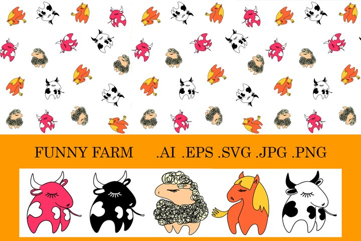 Funny Farm set pattern and illustrations