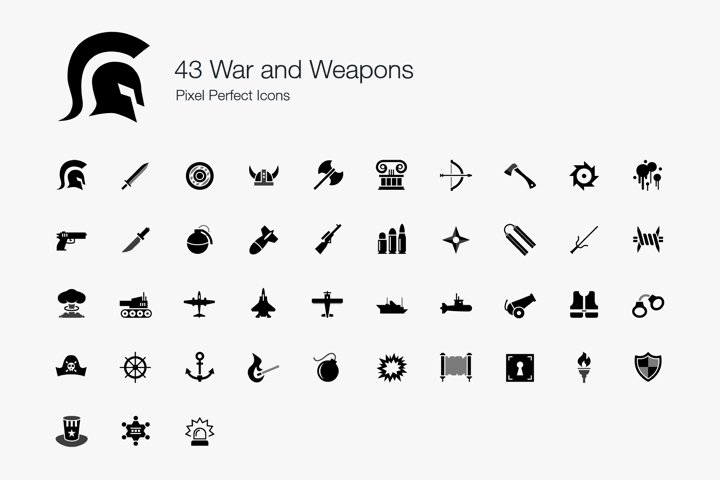 War Weapons Battle Modern Ancient Pixel Perfect Icons