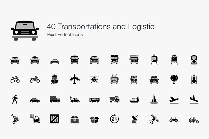 Transportation Logistic Shipping Vehicle Pixel Perfect Icons