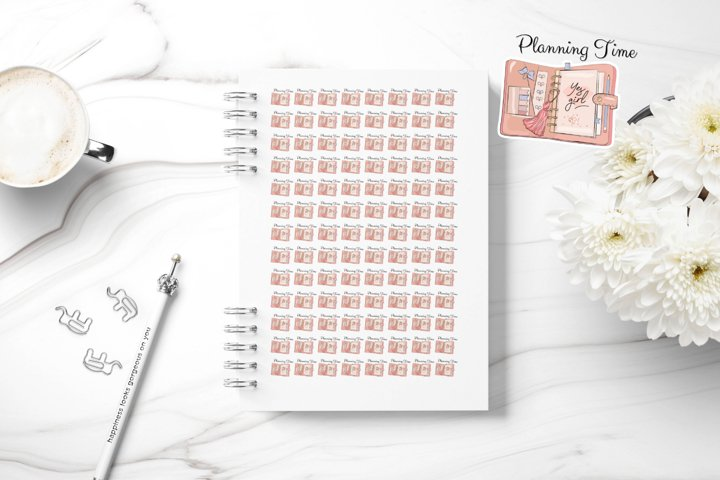 Planning Time, Printable Planner Sticker, Personal Goal Set