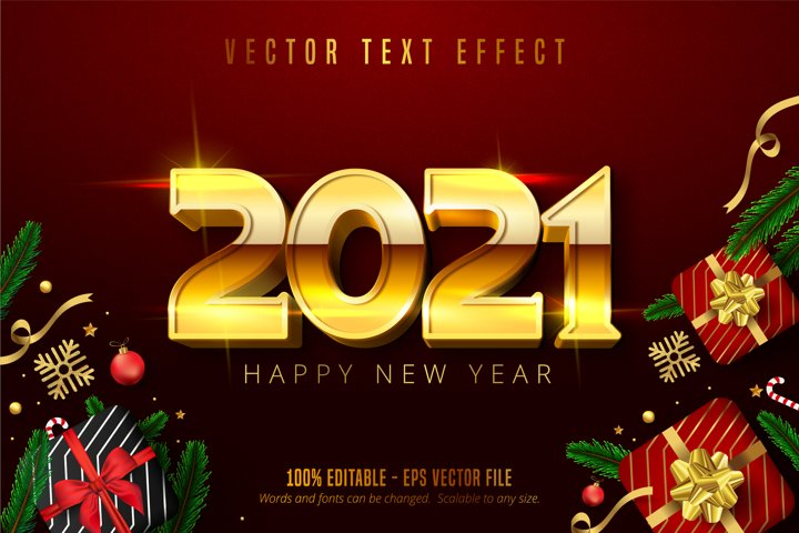 2021 Happy new year text, shiny gold christmas text effect