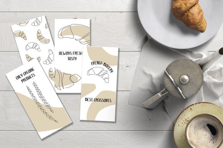 Baking. Croissant. Set of flyers
