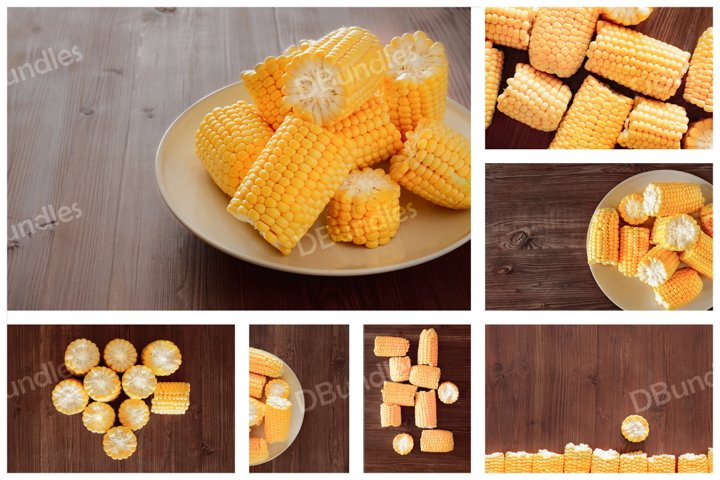 Yellow juicy corn cobs and grains