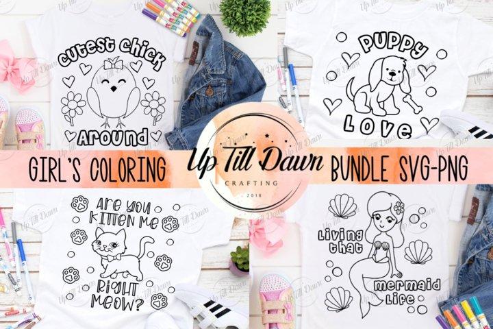 Girls Coloring Shirt SVG Bundle