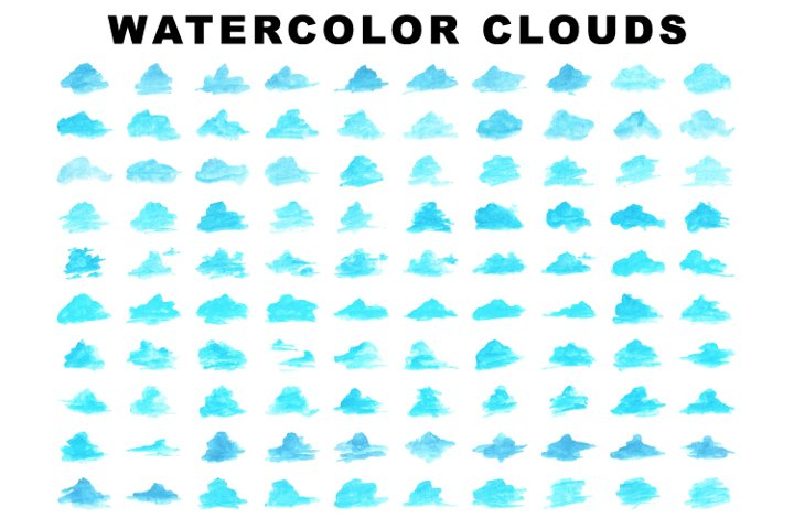 Collection of blue clouds in watercolor style. 100 vector