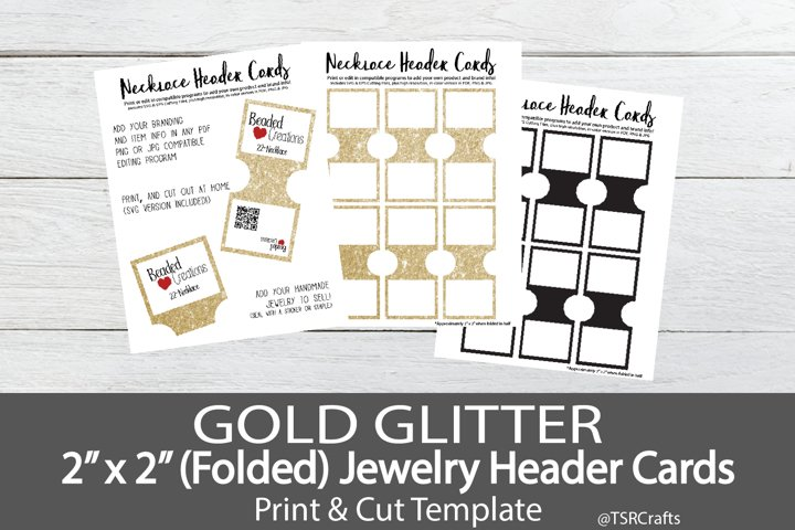 Jewelry Header Cards for Necklace - Gold Glitter