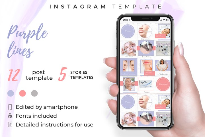 Beauty salon|instagram template kit|Canva template|12 post