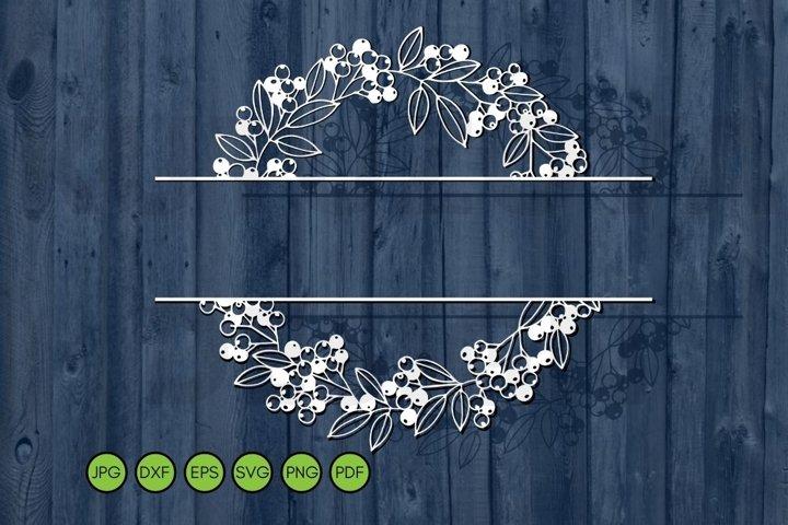 Split Wedding Monogram Svg Floral Frame SVG Family name sign