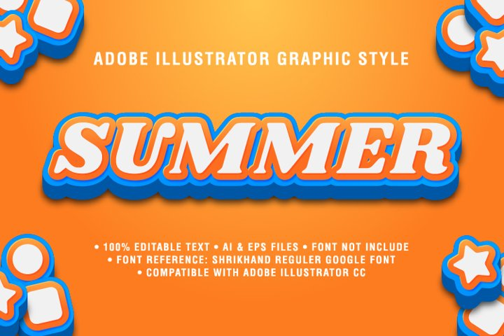 Summer Text Effect Graphic Style Vector