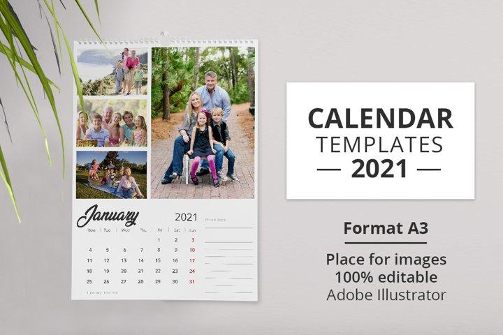 2021 Wall Calendar Template.
