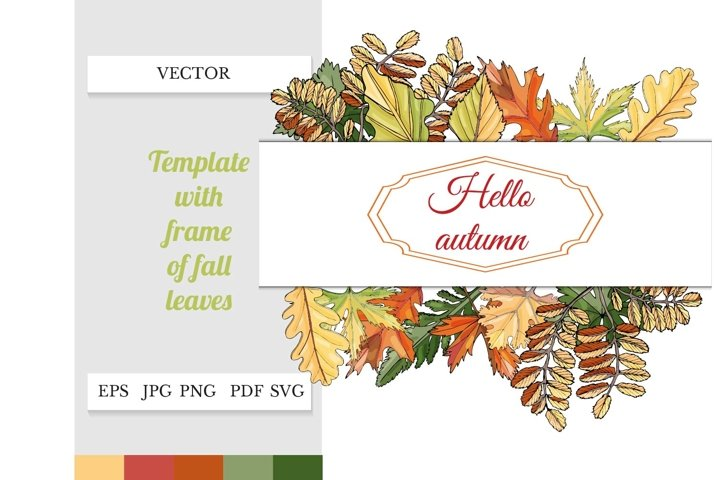 Floral border of fall leaves. Autumn leaves clipart.