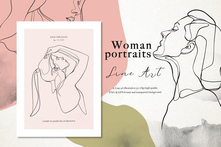 Line Art Woman Portraits