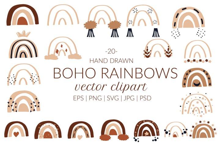 Abstract boho rainbow clipart. Modern rainbows set