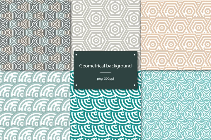 Set of 6 hexagon and ellipses backgrounds