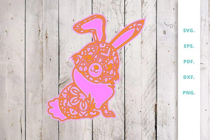 3D multi layer Cute Bunny out of Mandala 3