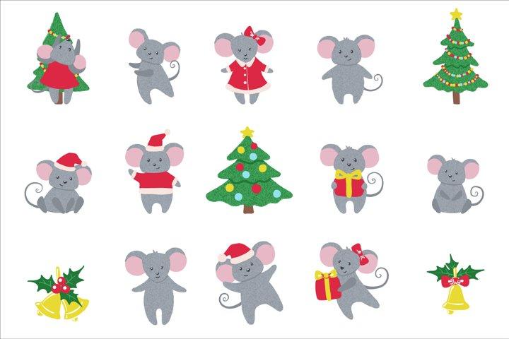 Cute hand drawn Mice Set.