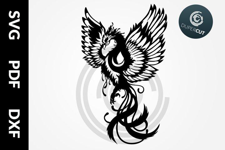 SVG / PDF / DXF Phoenix Bird, Papercutting Template