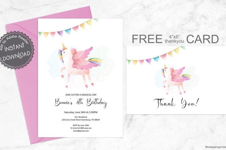 Unicorn Birthday Invitation, Rainbow Unicorn, Birthday Card