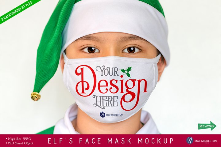 White Face Mask Mockup, Christmas Elf | psd & jpg