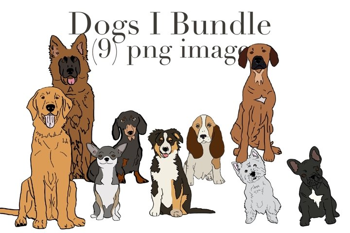 Dogs 1 bundle with 9 PNG images for all dog lovers