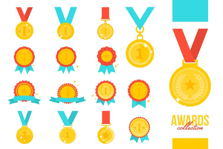 Gold medal award collection vector isolated