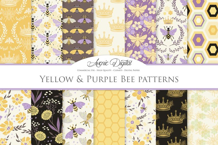 Yellow and Purple Bee Garden Seamless Vector Patterns and Di