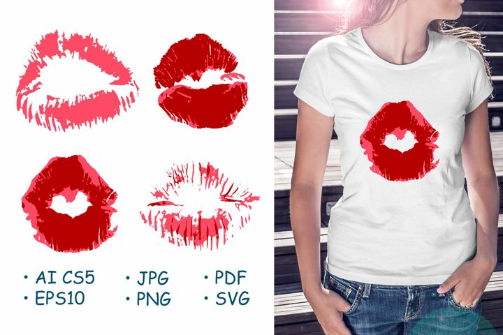 Lips, kisses, lipstick. Collection of romantic elements