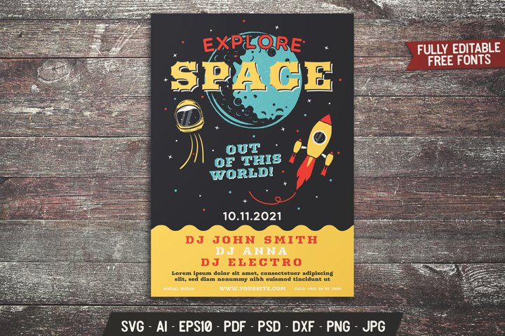 Space Explorer Flyer SVG Template Science Card DXF PNG