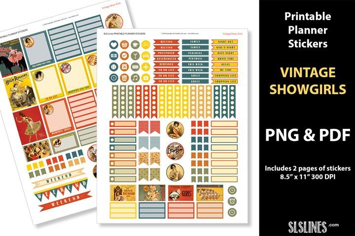Printable Planner Stickers - Vintage Showgirls
