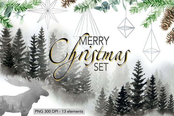 Christmas Set Winter Forest Watercolor Christmas Designs
