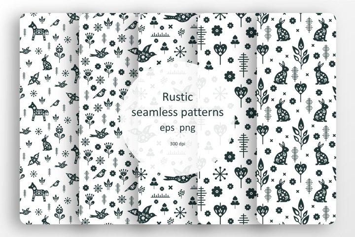 Set of 5 seamless rustic patterns