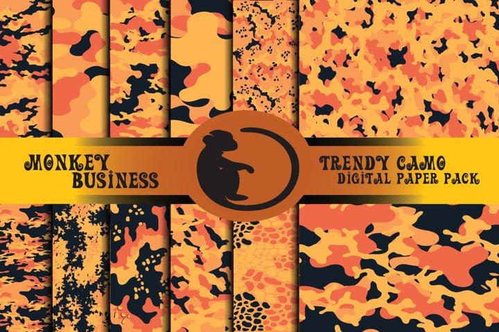 Orange digital paper pack, Repeating patterns,Military print