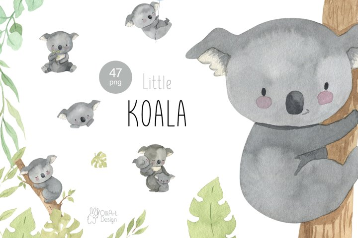 Koala clipart. Watercolor Australian animal clip art.