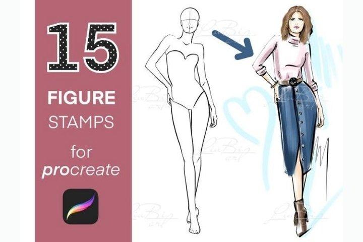 15 Figure Stamp Brushes Set for Procreate, Poses Brushes