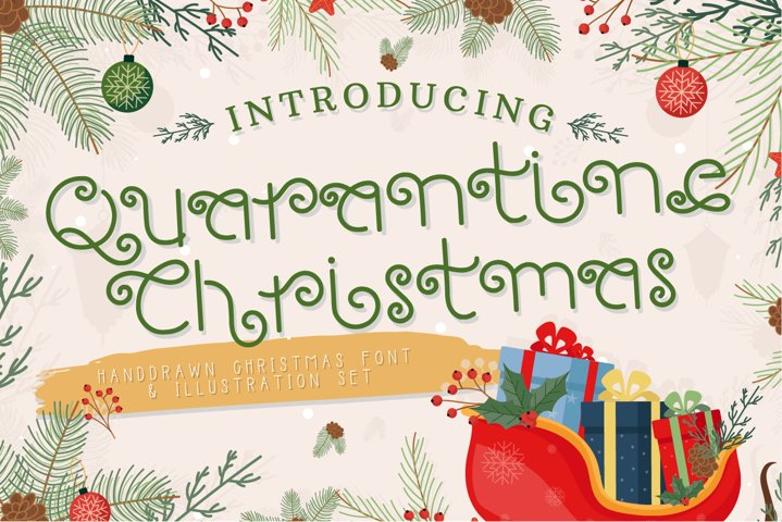 Quarantine Christmas - Hand Drawn Font & Illustration Set