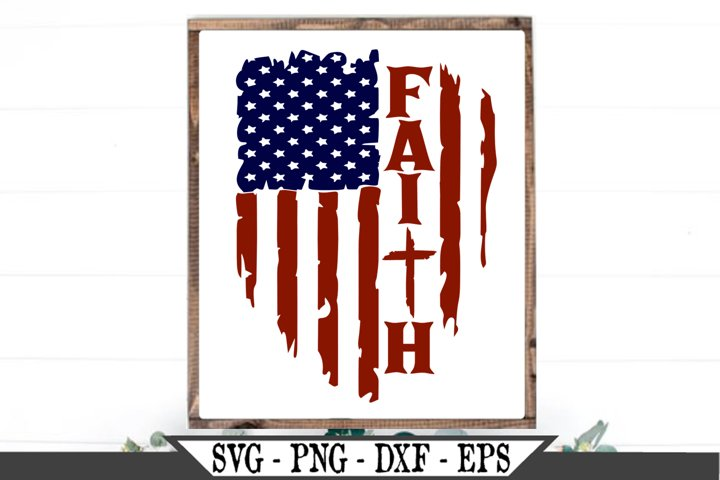 Distressed American Flag Faith With Christian Cross SVG