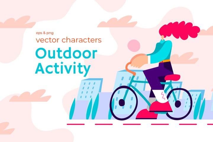 Vector modern characters outdoor activity