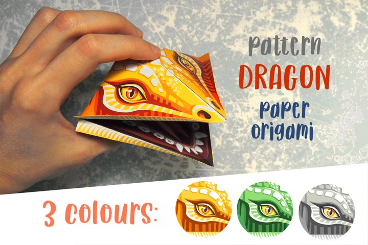 Paper origami 3d dragon template Funny DIY paper toy pattern