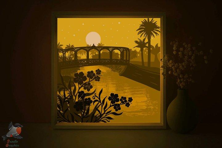 Tropical Palm Summer Lightbox Shadow Box Flower SVG Template